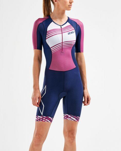 2XU Compression short sleeve trisuit blue/pink women  WT5521d-NVY/VBL