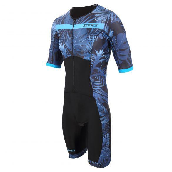 Zone3 Activate plus tropical palm trisuit short sleeve men  TS21MACPS103